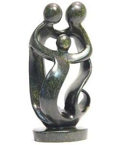family of three soapstone sculpture
